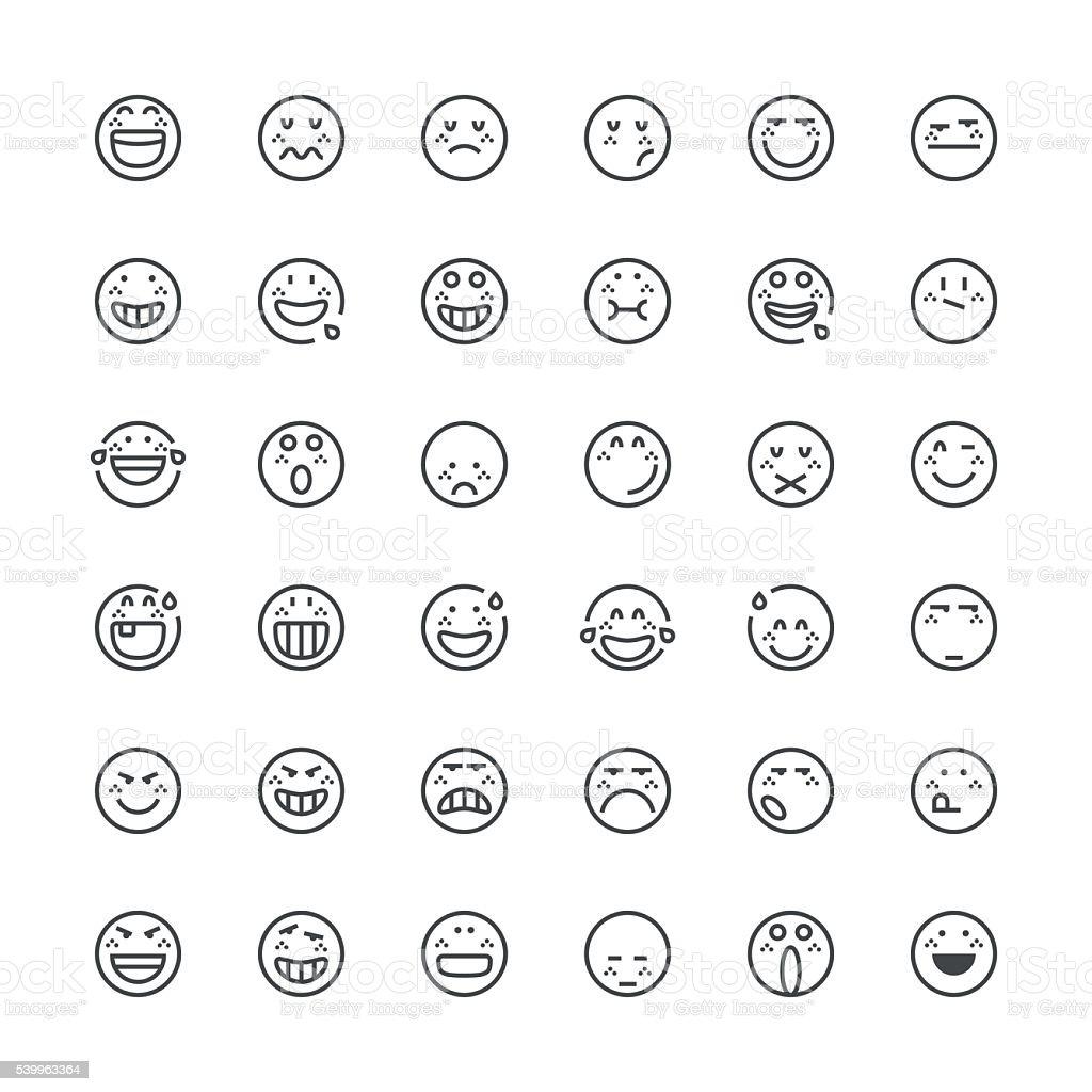 Emoticons set 13 | Thin Line series vector art illustration
