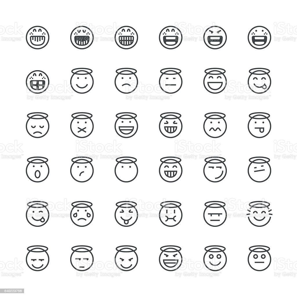 Emoticons set 15   Thin Line series vector art illustration