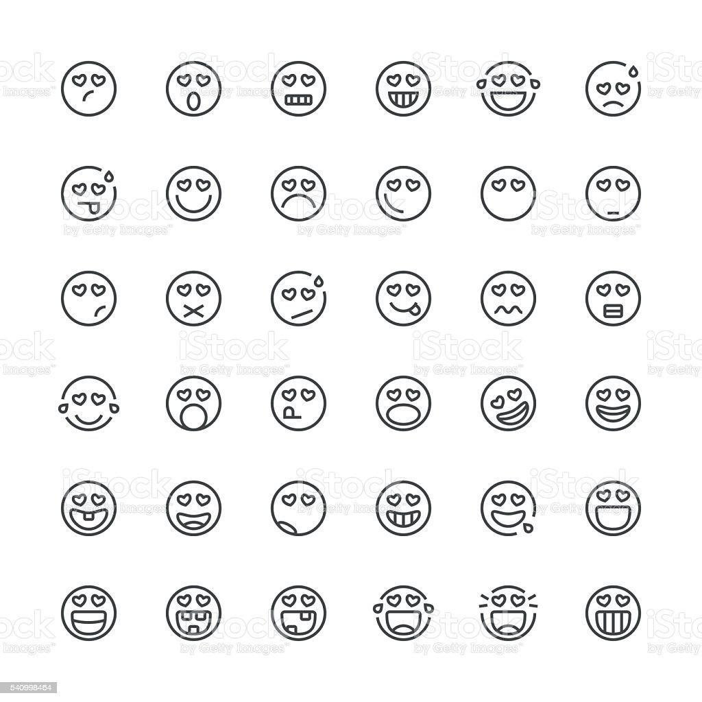Emoticons set 22   Thin Line series vector art illustration