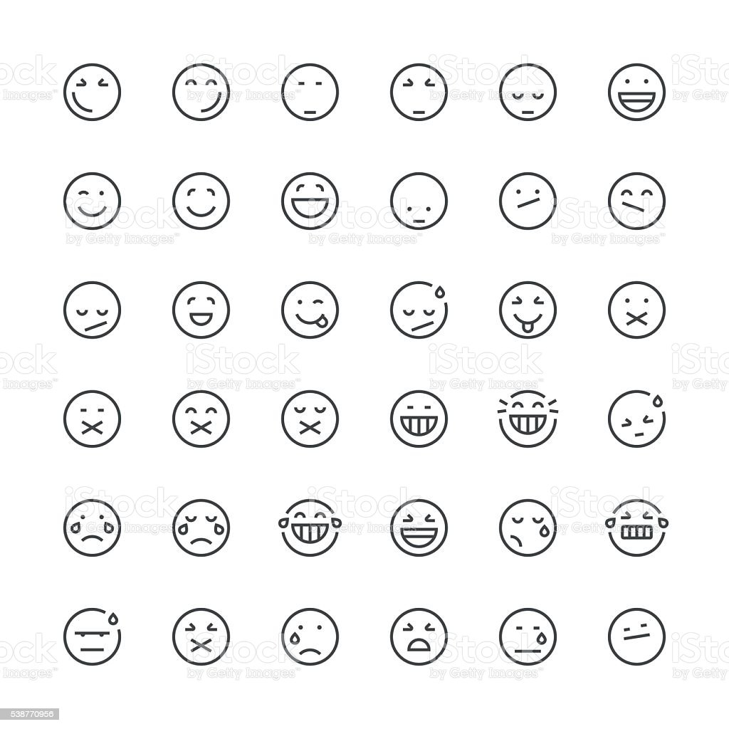 Emoticons set 3 | Thin Line series vector art illustration