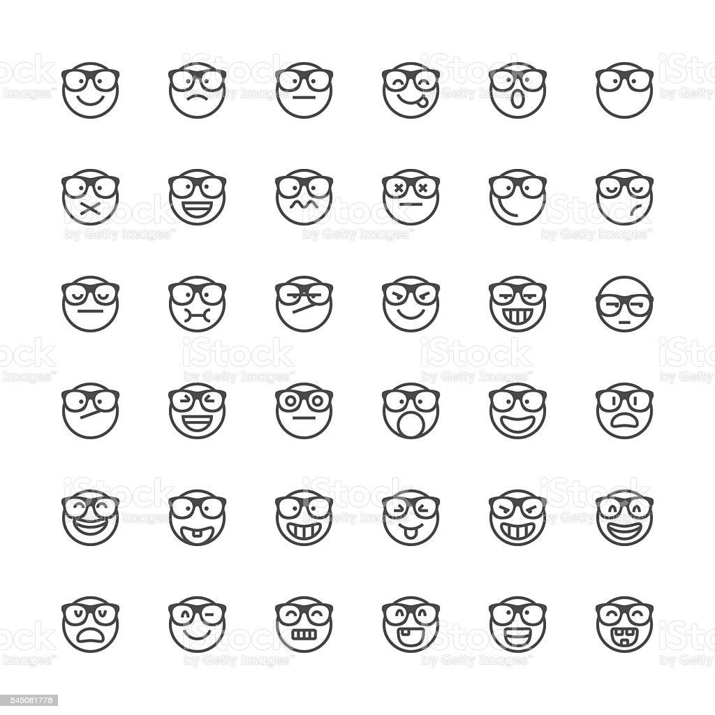 Emoticons set 43 | Thin Line series vector art illustration