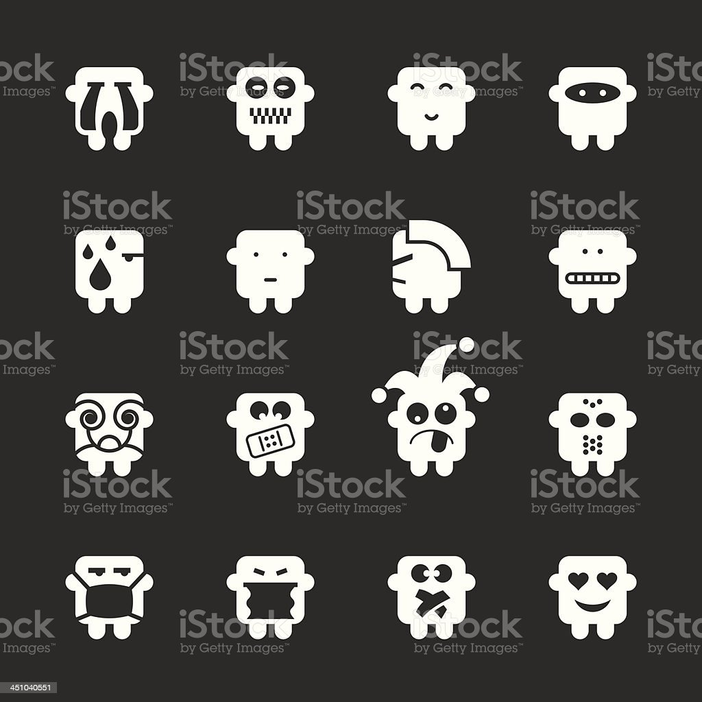 Emoticons Set 7 - White Series | EPS10 royalty-free stock vector art
