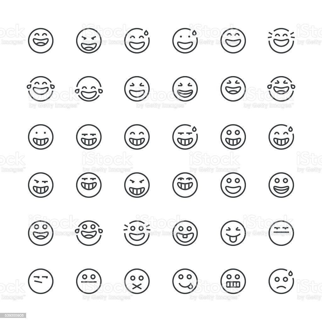 Emoticons set 8 | Thin Line series vector art illustration