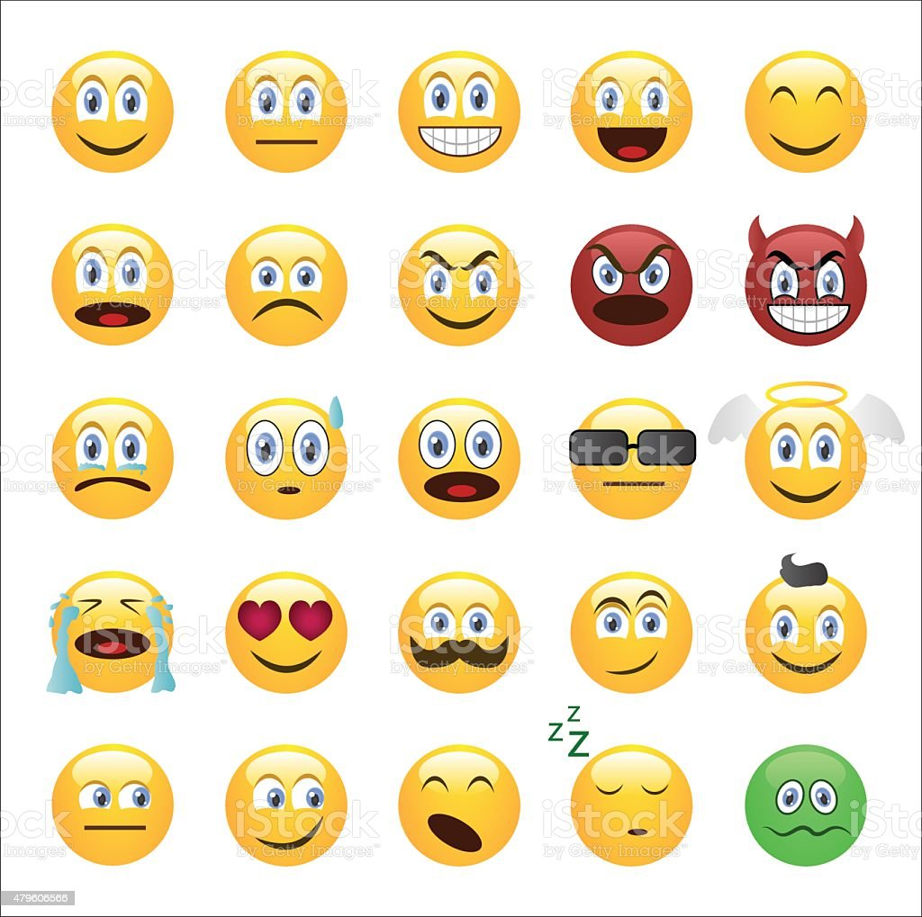 Emoticons set cartoon style vector art illustration