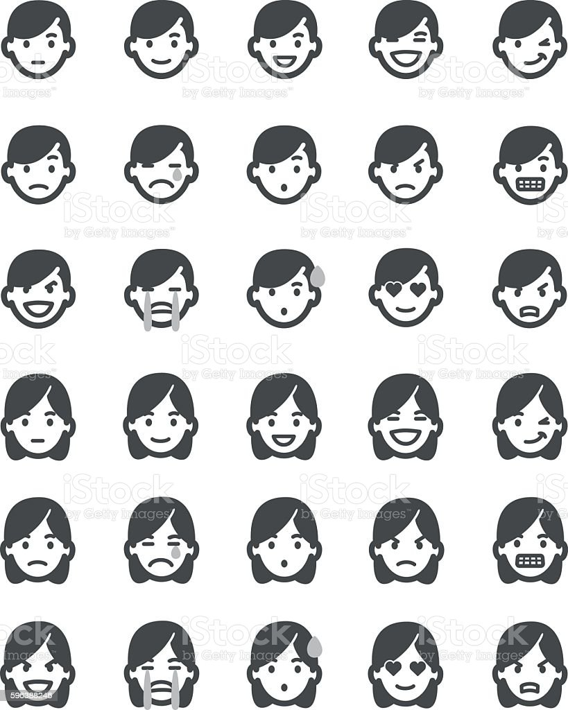 Emoticons set men vector art illustration