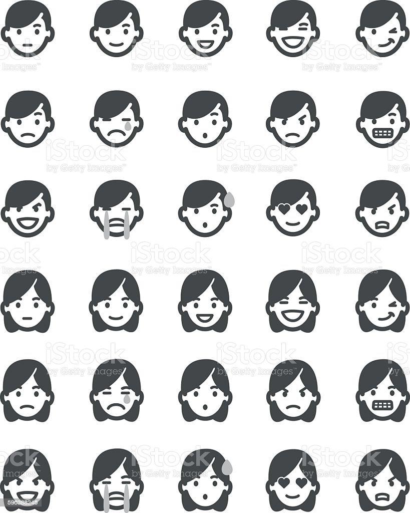 Emoticons set men vector art illustration