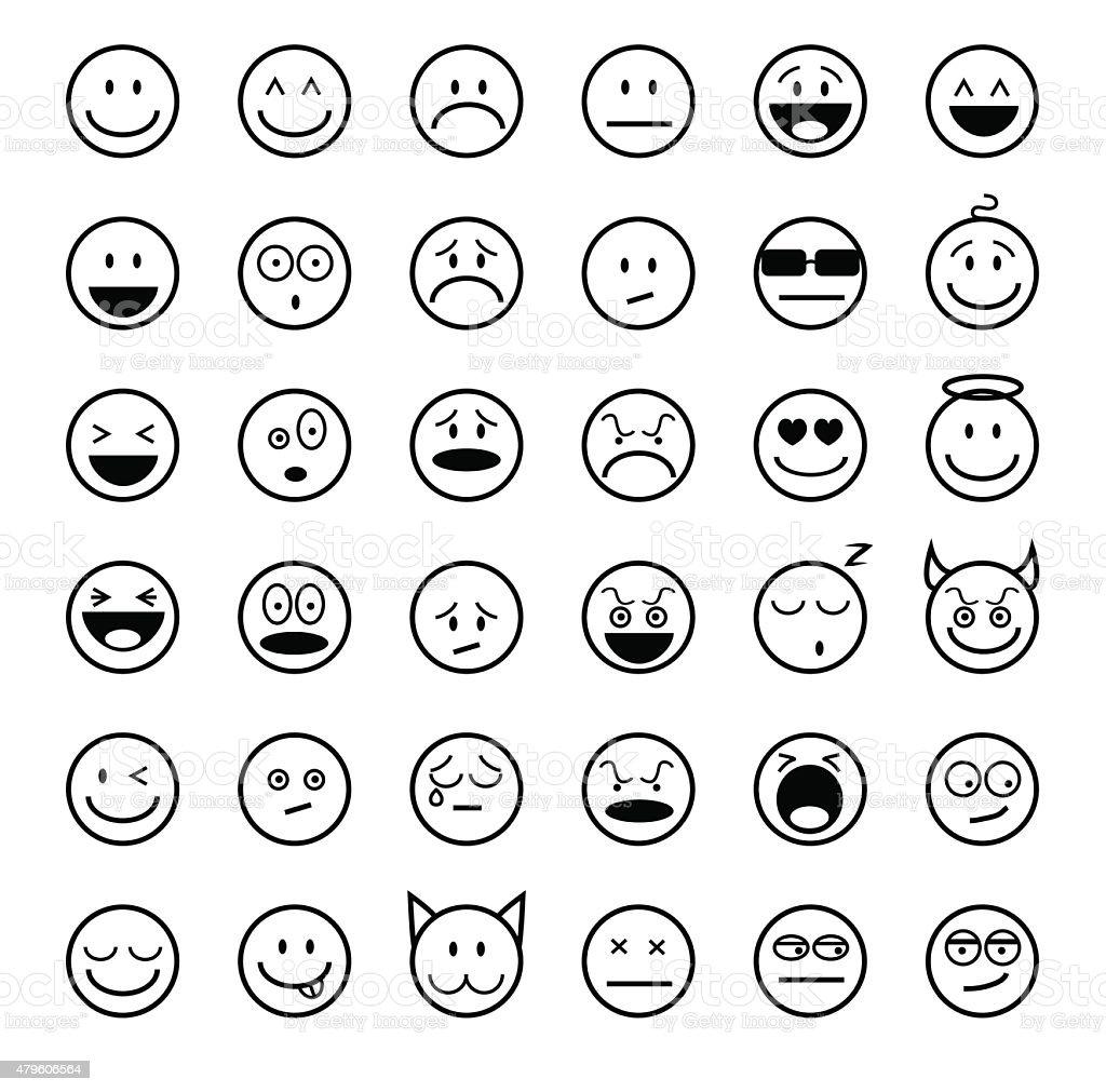 Emoticons set outline style vector art illustration