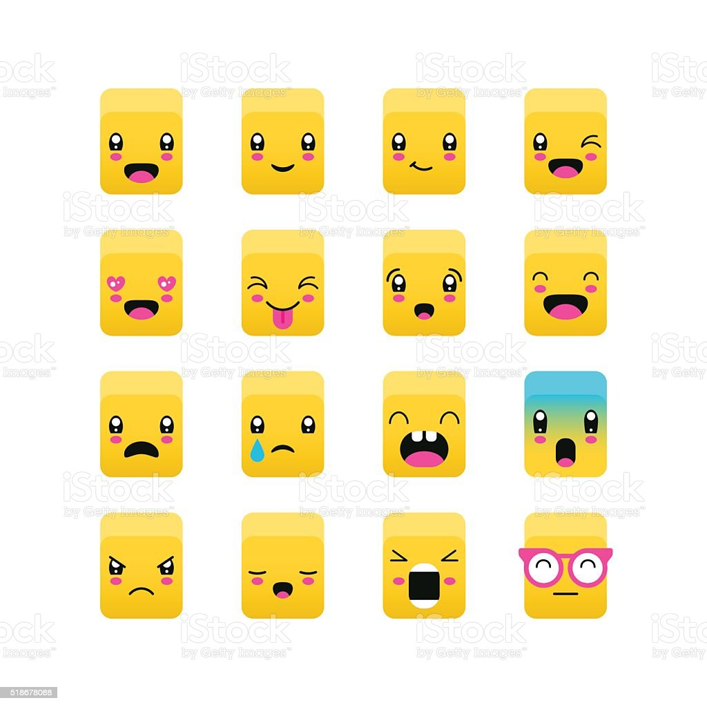 Emoticons square icon set. Kawaii cute emoticons. Isolate vector art illustration