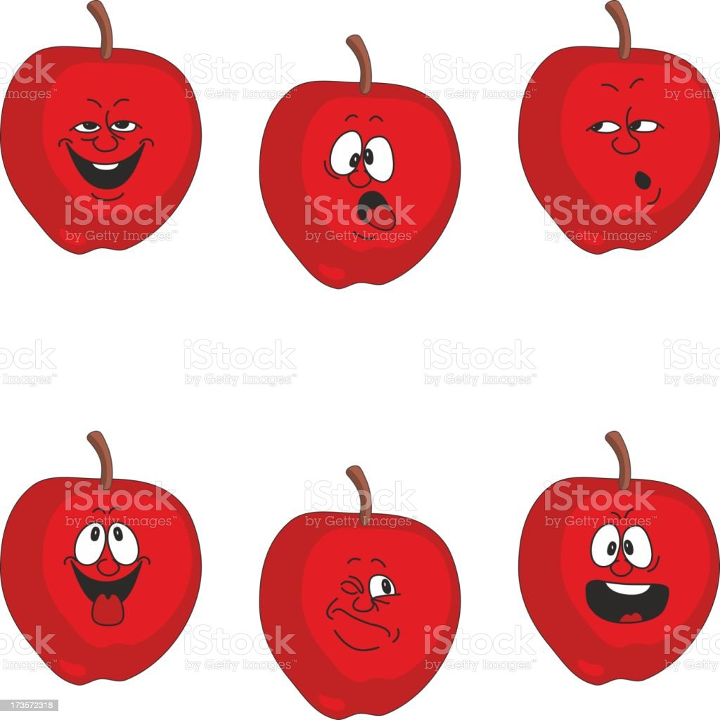 Emotion cartoon red apple set 011 royalty-free stock vector art