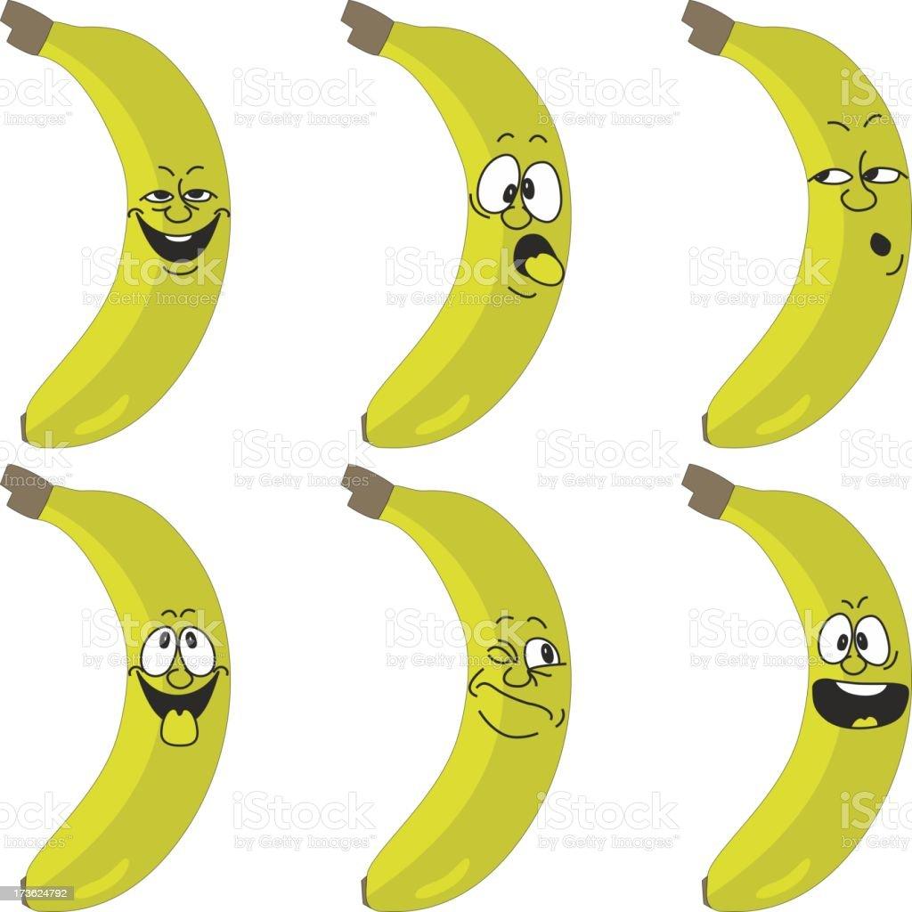 Emotion cartoon yellow banana set 015 royalty-free stock vector art