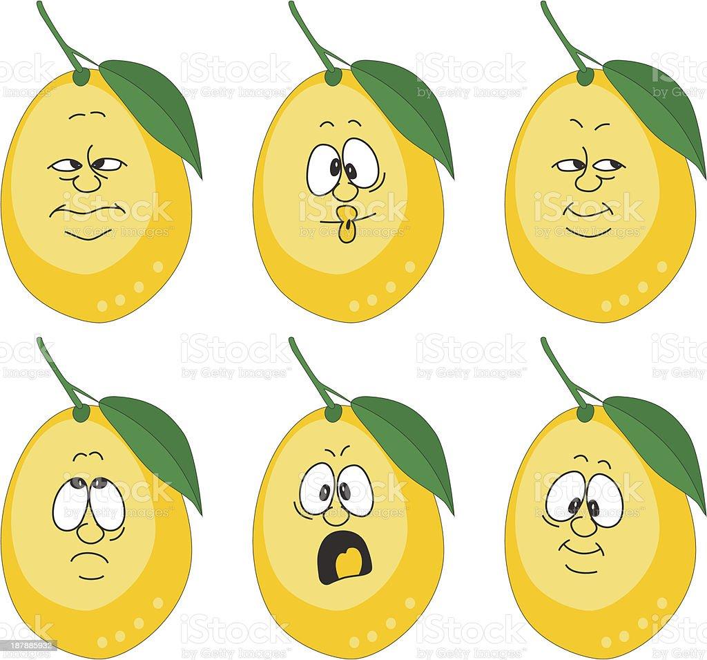 Emotion cartoon yellow lemon set 004 royalty-free stock vector art