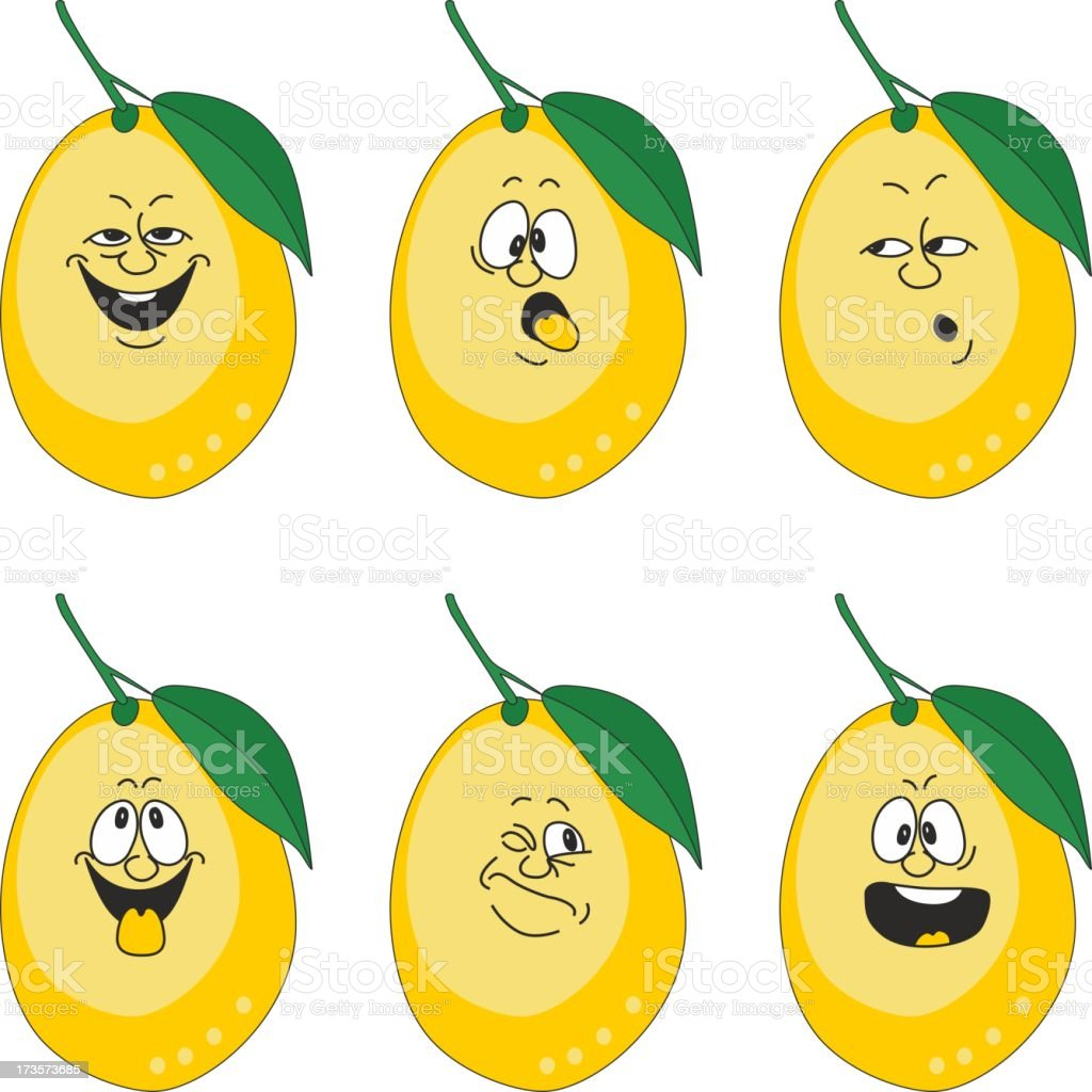 Emotion cartoon yellow lemon set 013 royalty-free stock vector art