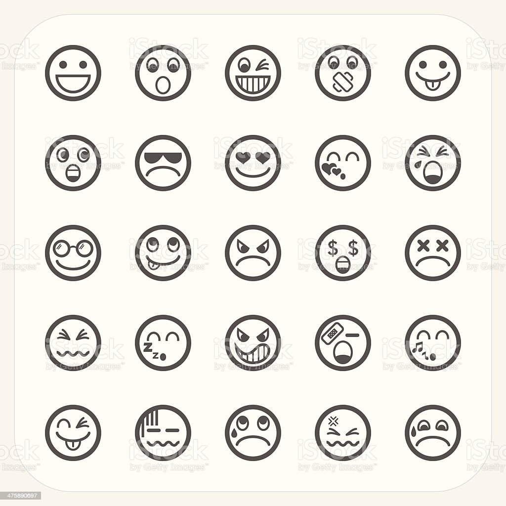 Emotion face icons set vector art illustration