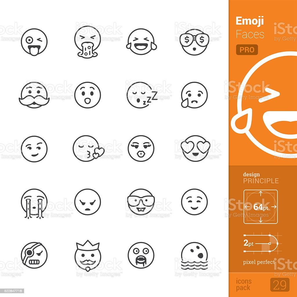 Emotion face vector icons - PRO pack vector art illustration