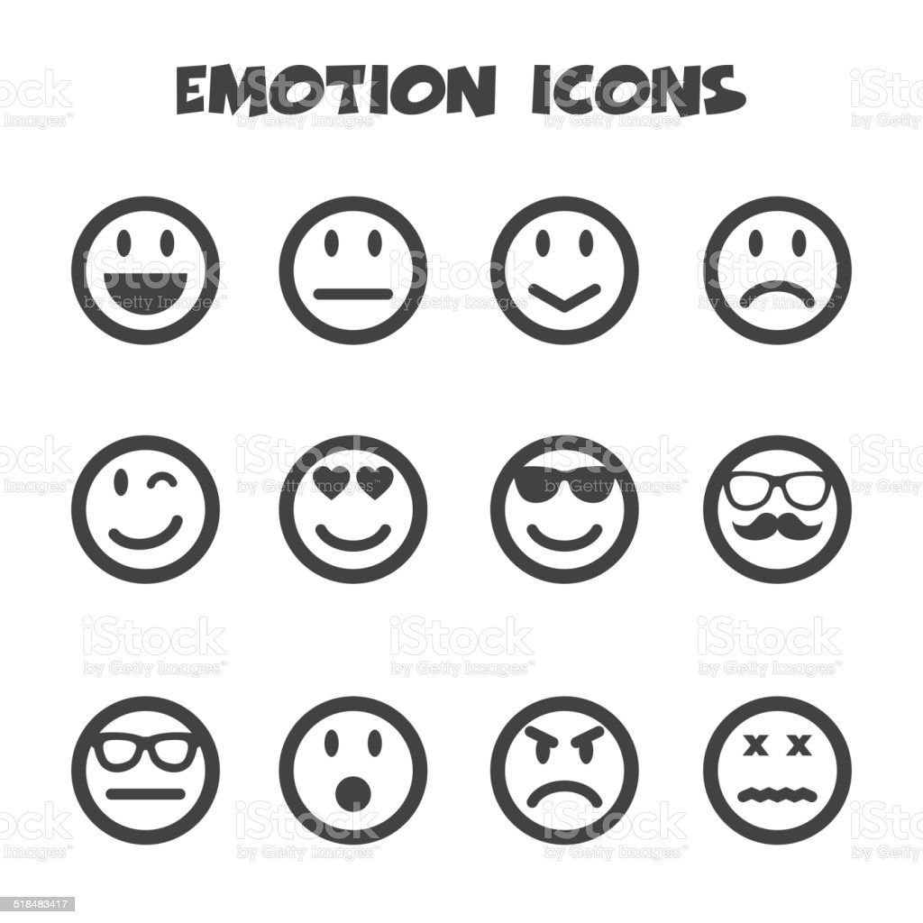 emotion icons vector art illustration