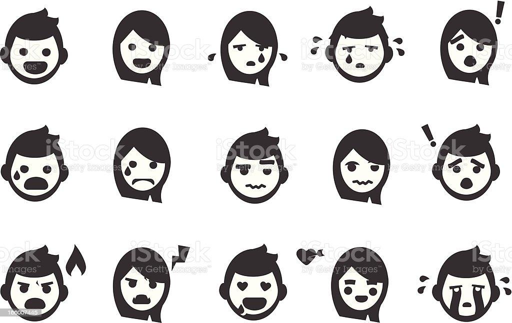 Emotion People Icons vector art illustration