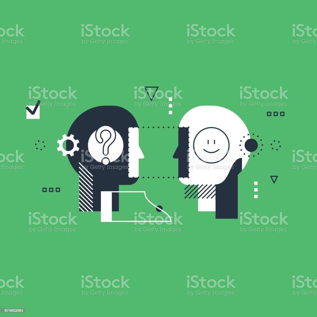 Emotional intelligence concept, communication skills, reasoning and persuasion vector art illustration