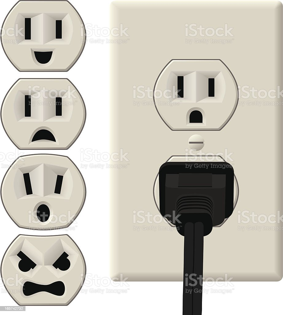 Emotional Power Outlets vector art illustration
