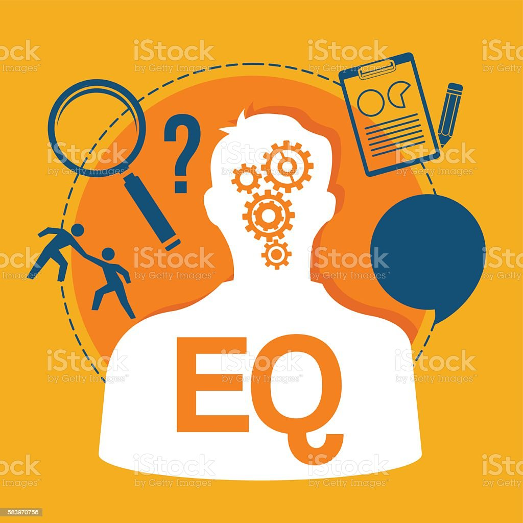 EQ emotional quotient intelligence vector art illustration