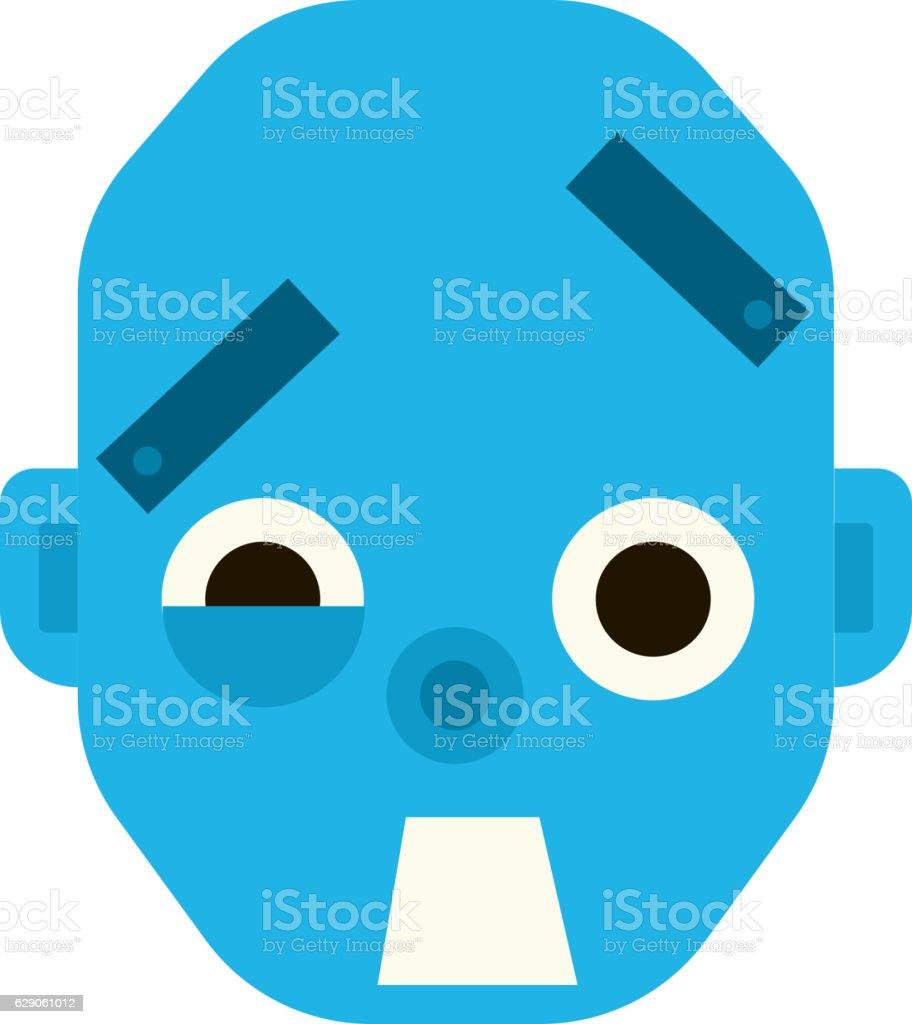 Emotional scared robot head in cartoon style. vector art illustration