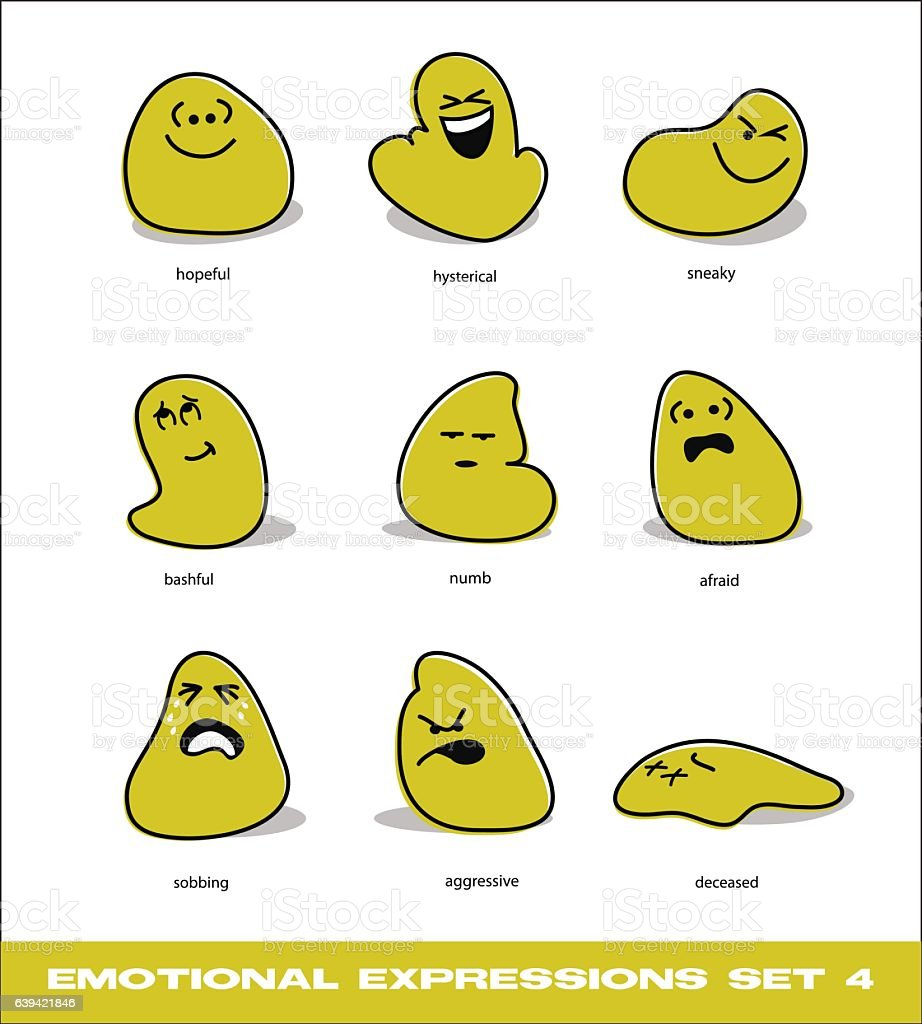 emotions icon set with cute cartoon blob characters vector art illustration