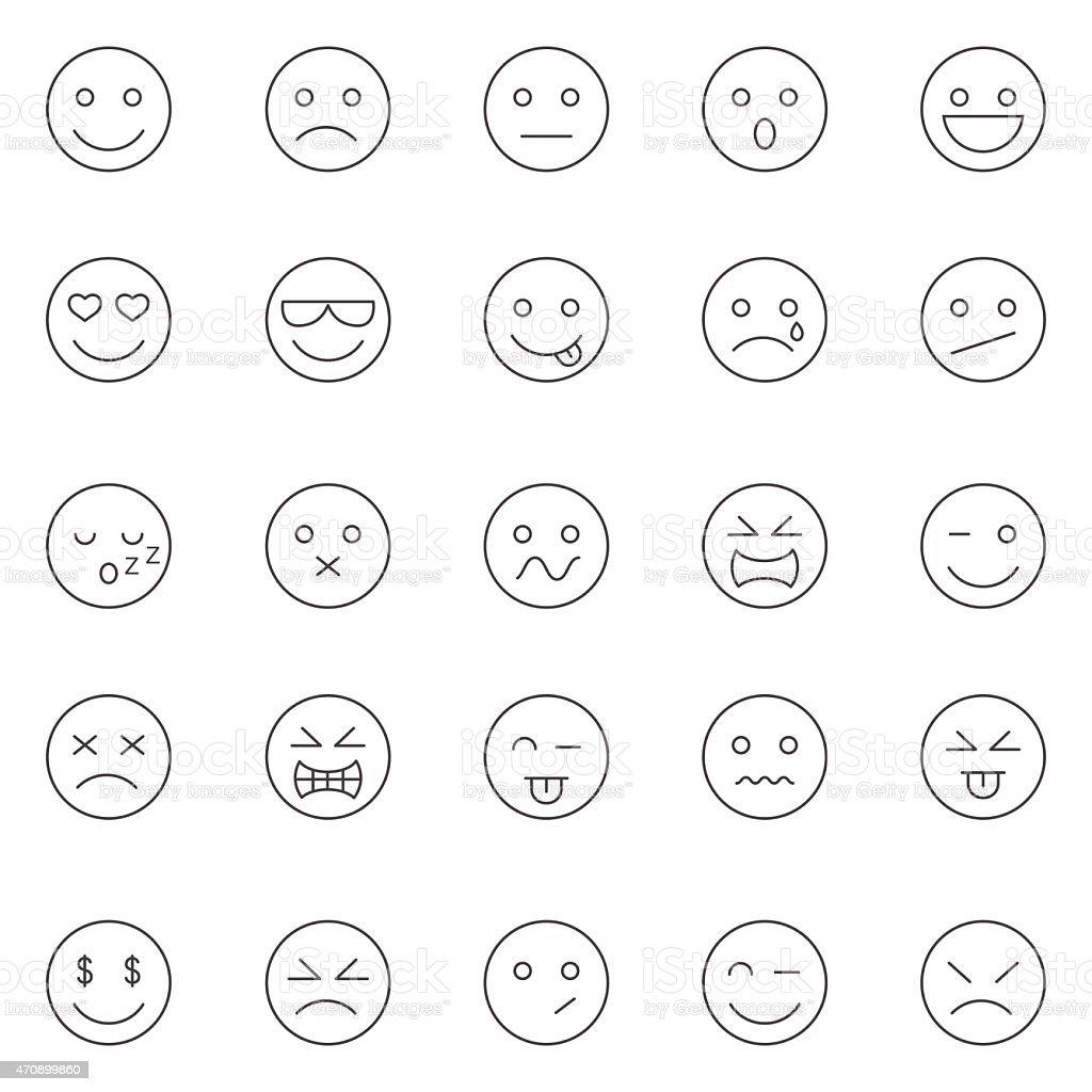 Emotions lines icons set.Vector vector art illustration