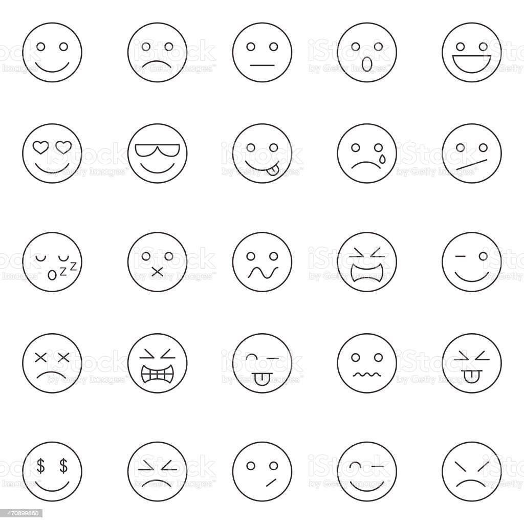 Emotions lines icons set.Vector vector art illustration