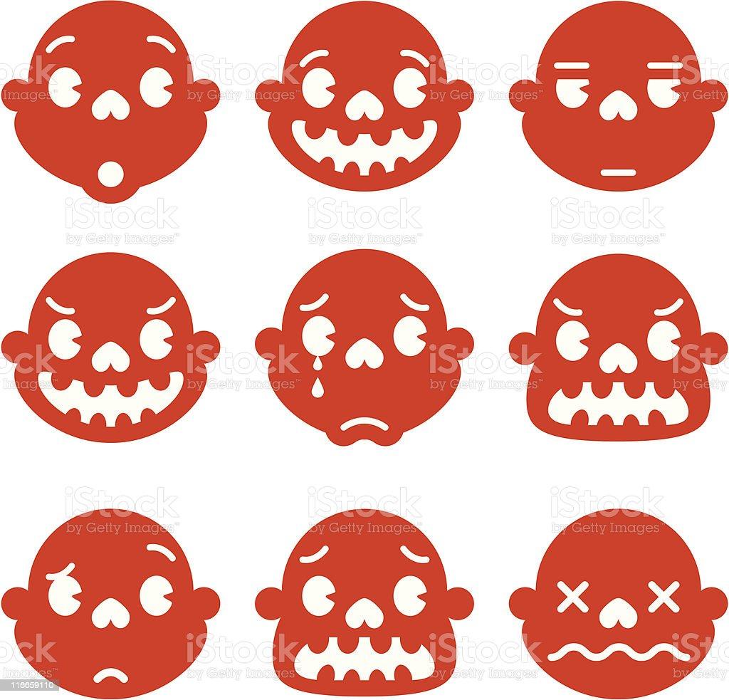 Emotions of Monkey Redskull vector art illustration
