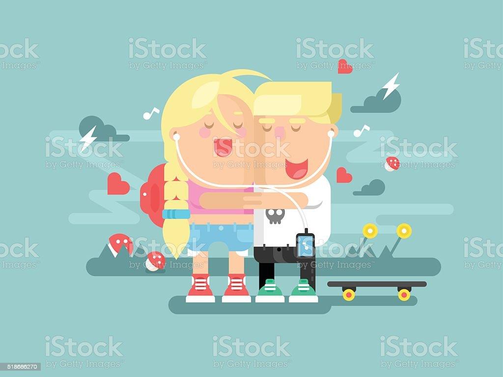 Empathy boy and girl vector art illustration