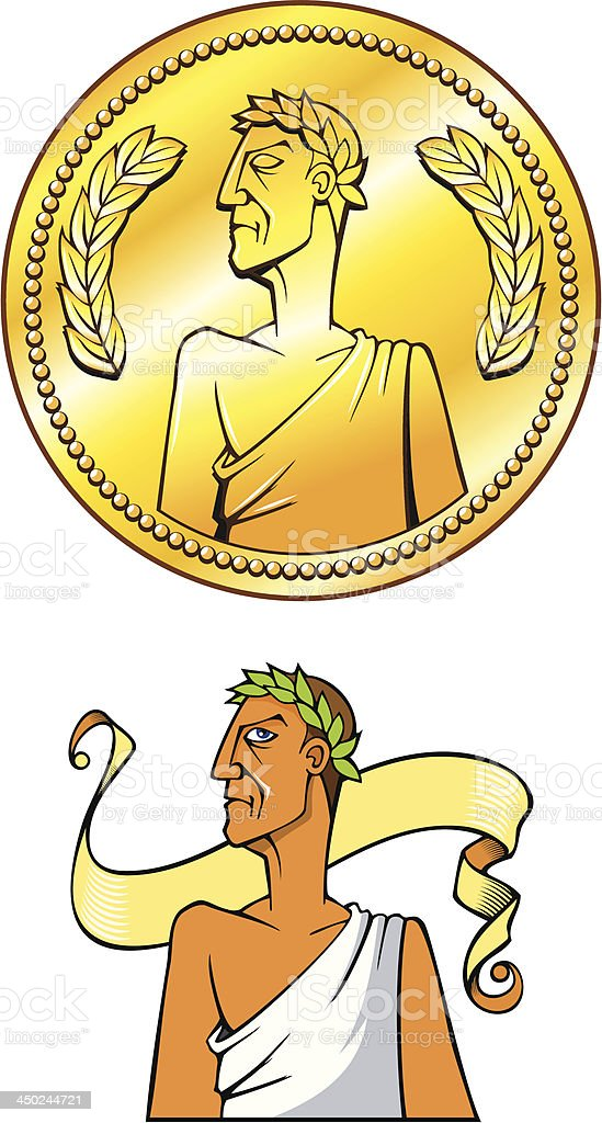 Emperor coin vector art illustration