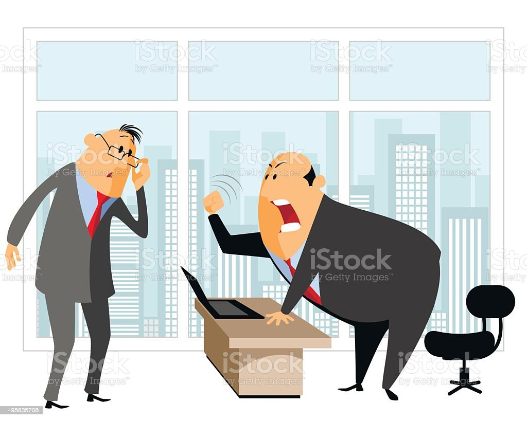Employee and chief vector art illustration