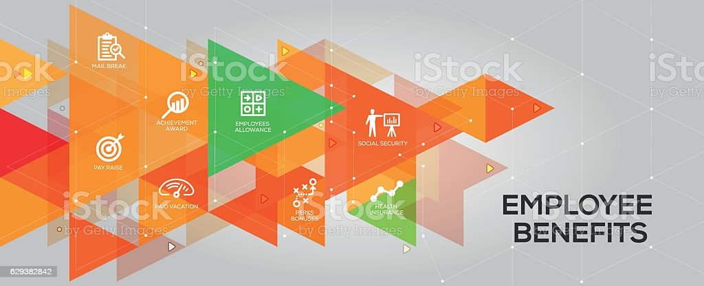 Employee Benefits banner and icons vector art illustration
