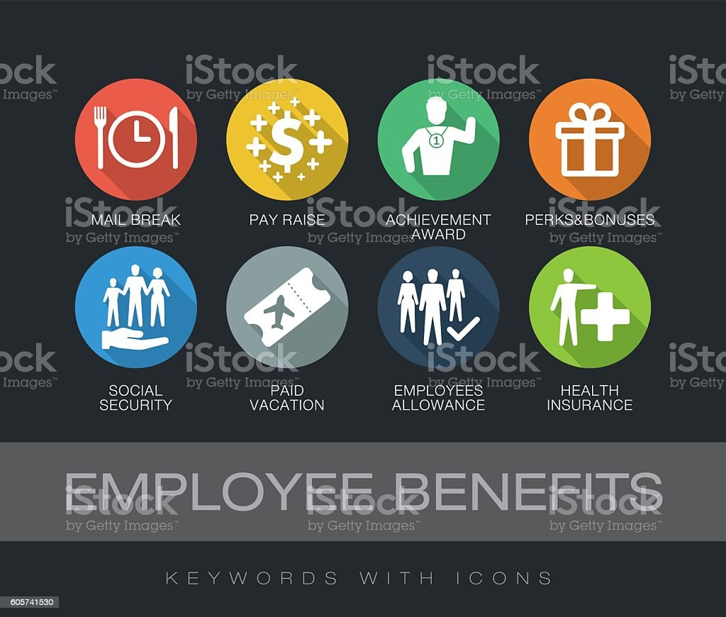 Employee Benefits keywords with icons vector art illustration