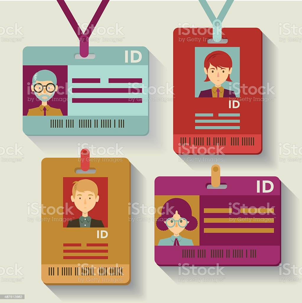 Employee identification cards vector art illustration