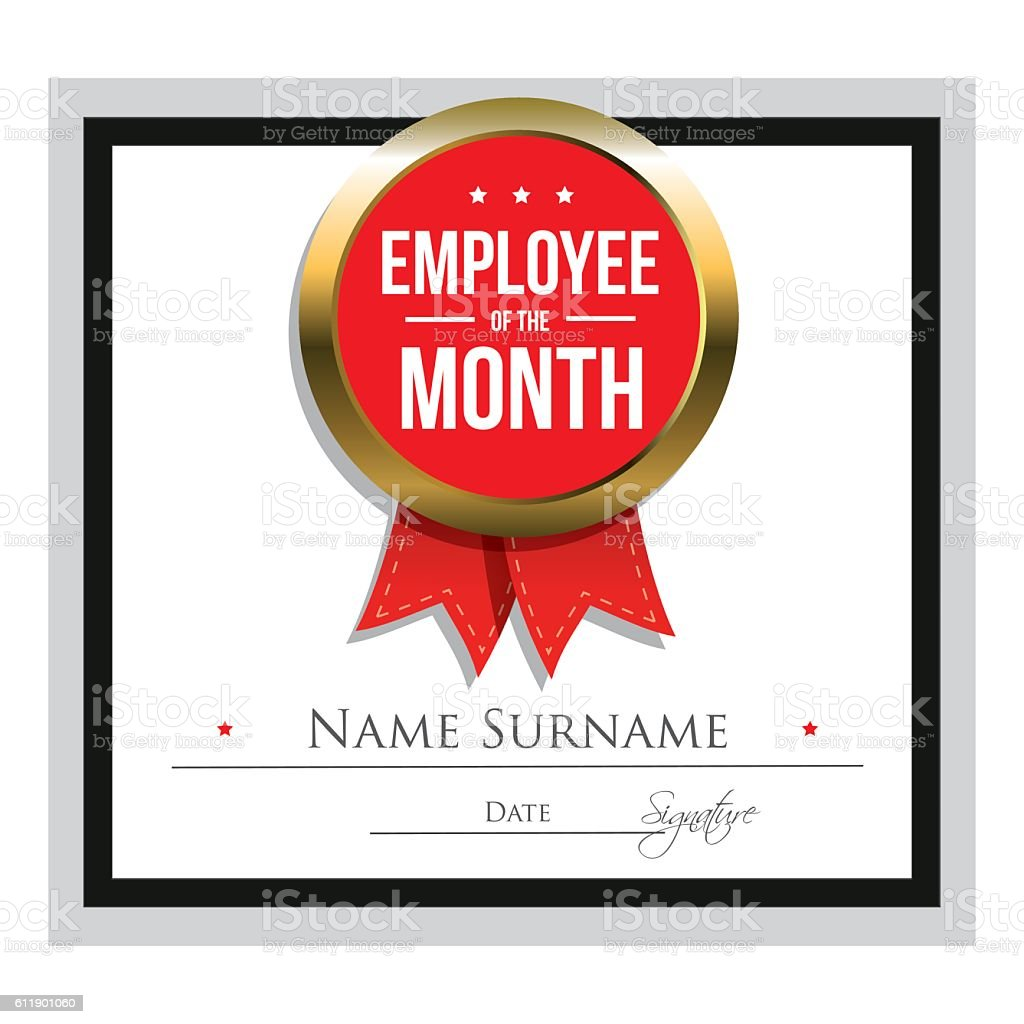 Employee Of The Month Certificate Template stock vector art – Free Employee of the Month Certificate Template