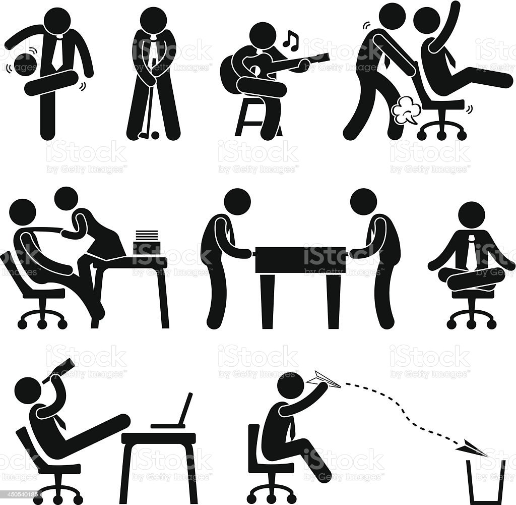 Employee Worker Office Fun Pictogram vector art illustration