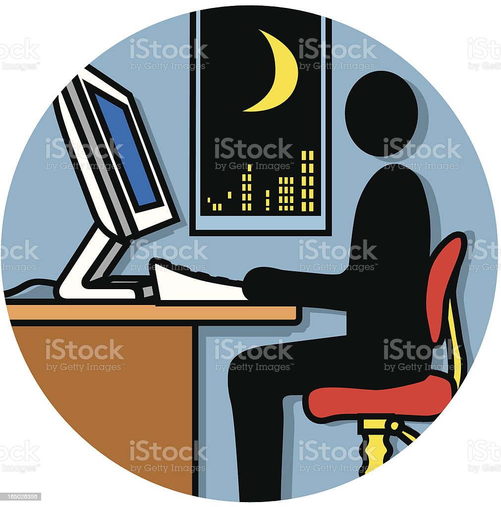 employee working late icon royalty-free stock vector art