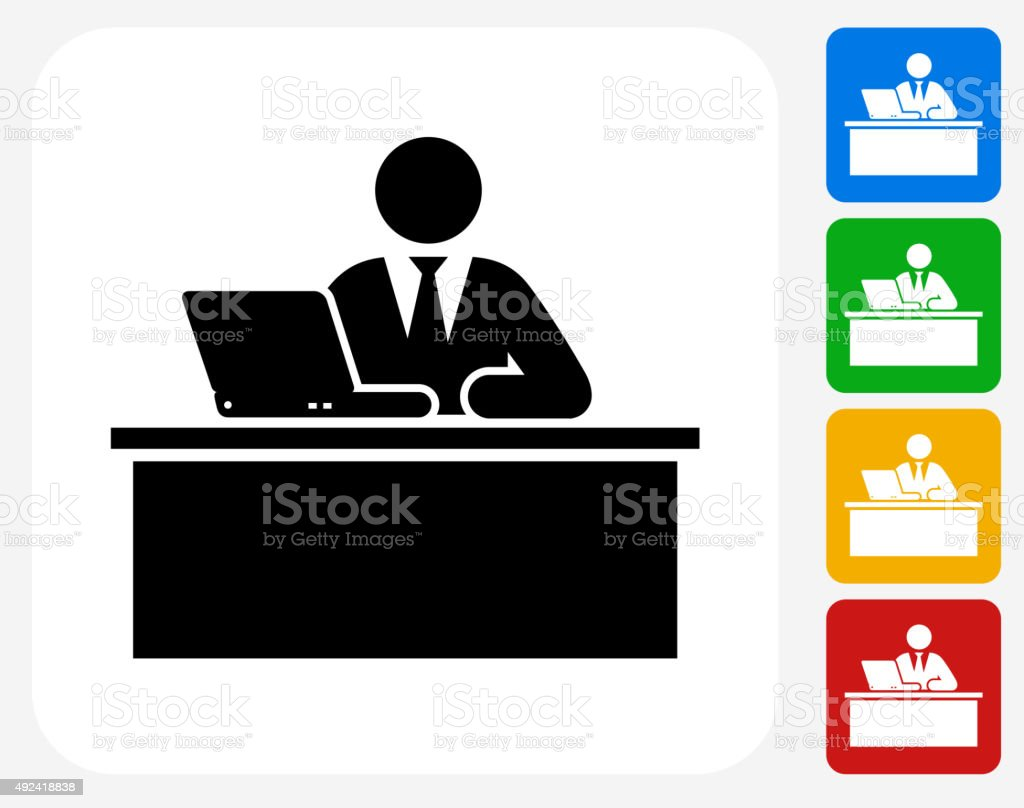 Employer Icon Flat Graphic Design vector art illustration