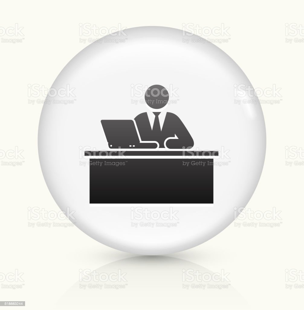 Employer icon on white round vector button vector art illustration