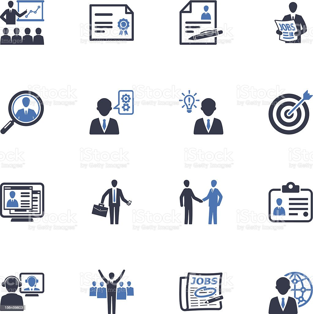 Employment and Business Icons - Blue Series vector art illustration