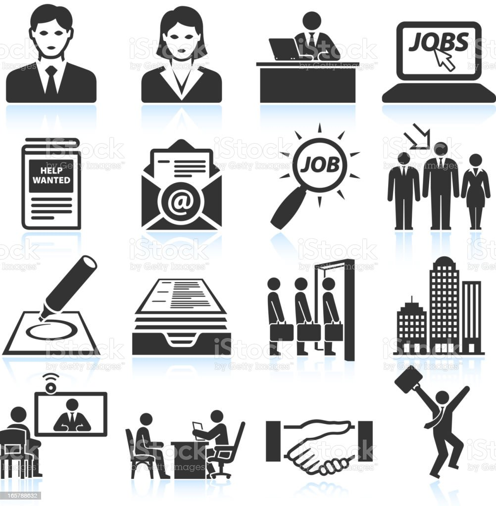 Employment and business Interview black & white vector icon set royalty-free stock vector art