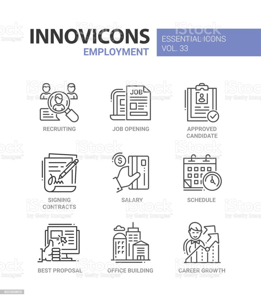 Employment- modern vector line icons set vector art illustration