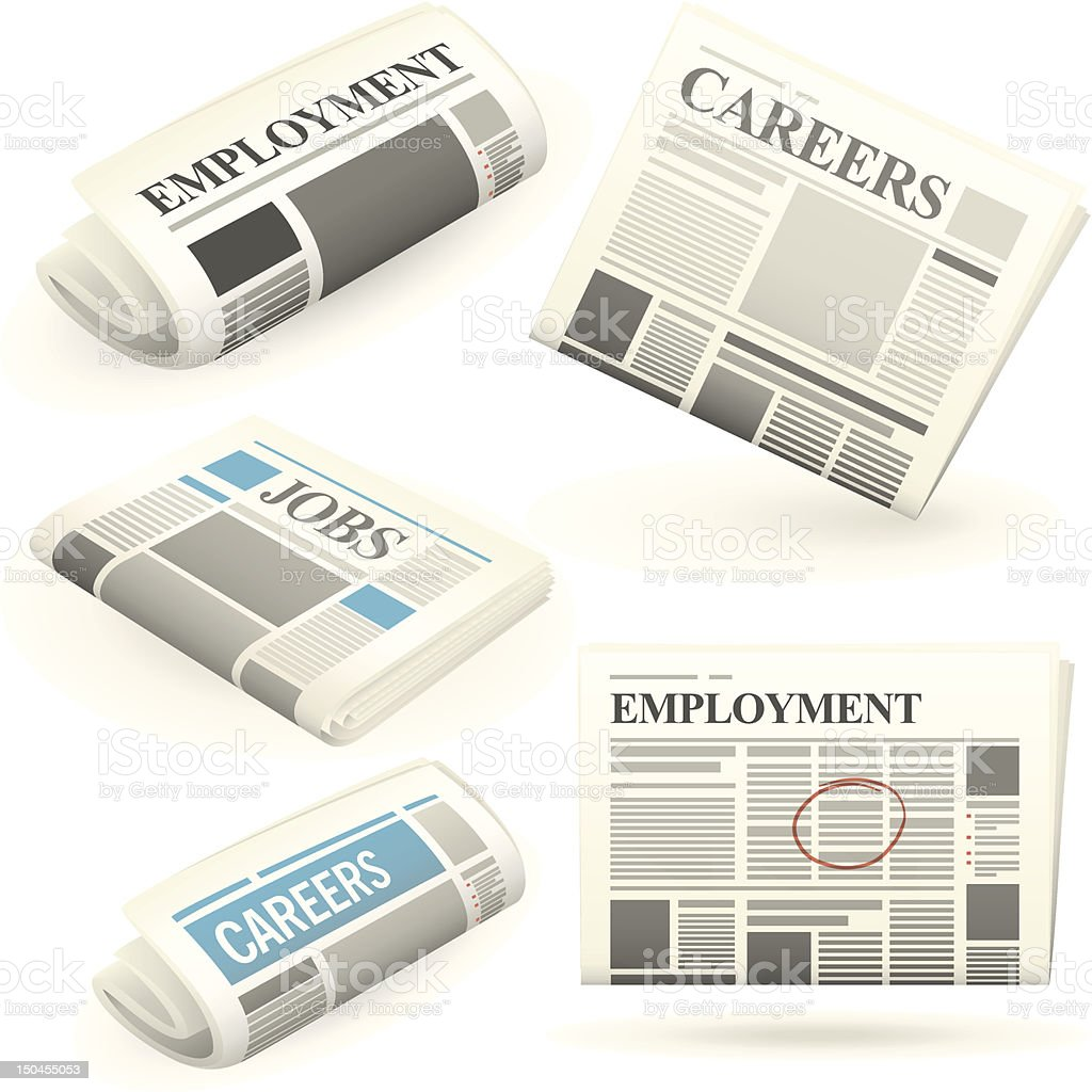 Employment newspapers royalty-free stock vector art