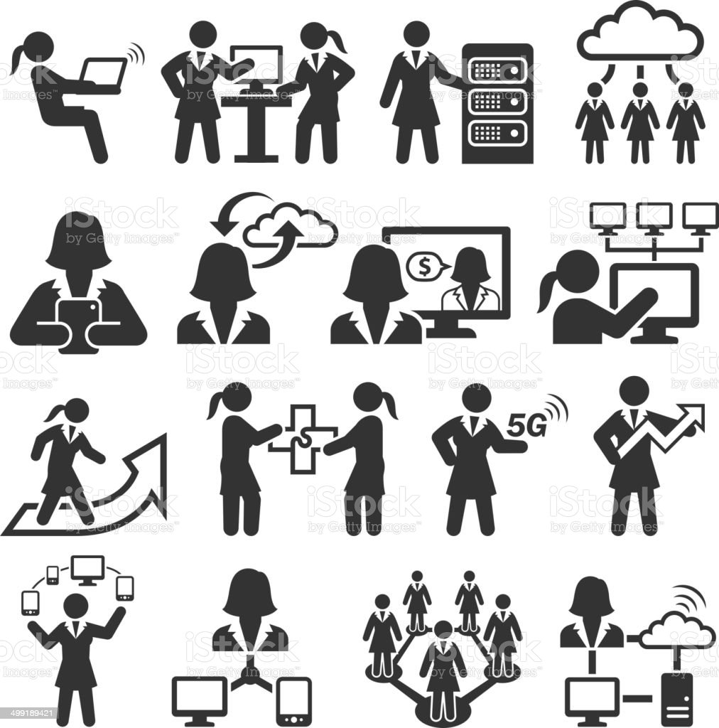 Empowered Businesswoman black & white royalty-free vector interface icon set vector art illustration