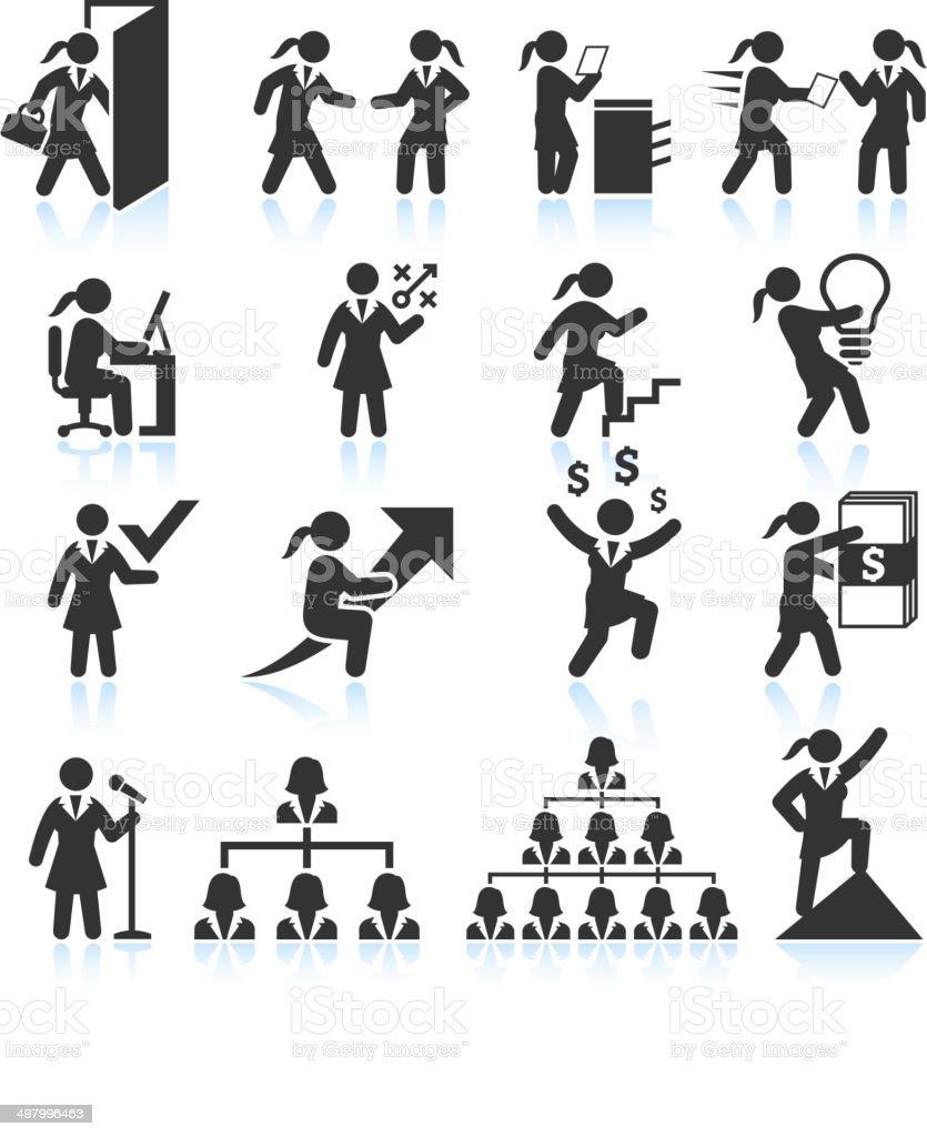 Empowered Businesswoman Stick Figure in Black & White Set vector art illustration