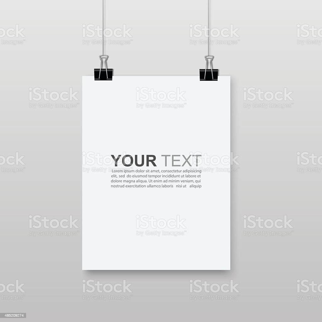 Empty A4 sized paper hanging with paper clips.vector vector art illustration