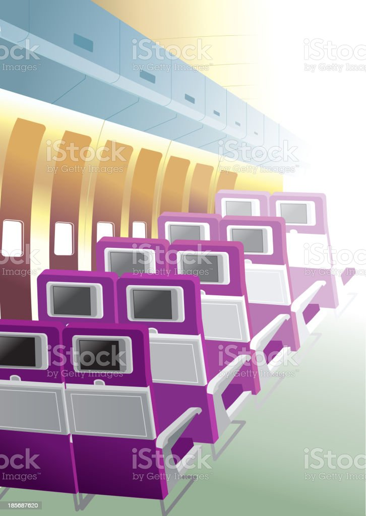 Empty Airline Seats Interior vector art illustration