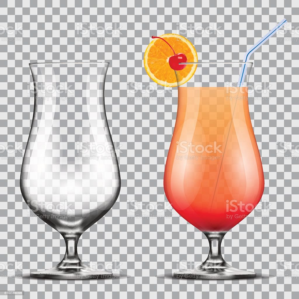 empty and full  glass with  cocktail vector art illustration