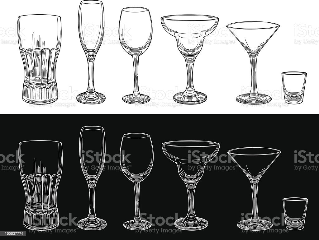 Empty Barware Glass Set vector art illustration