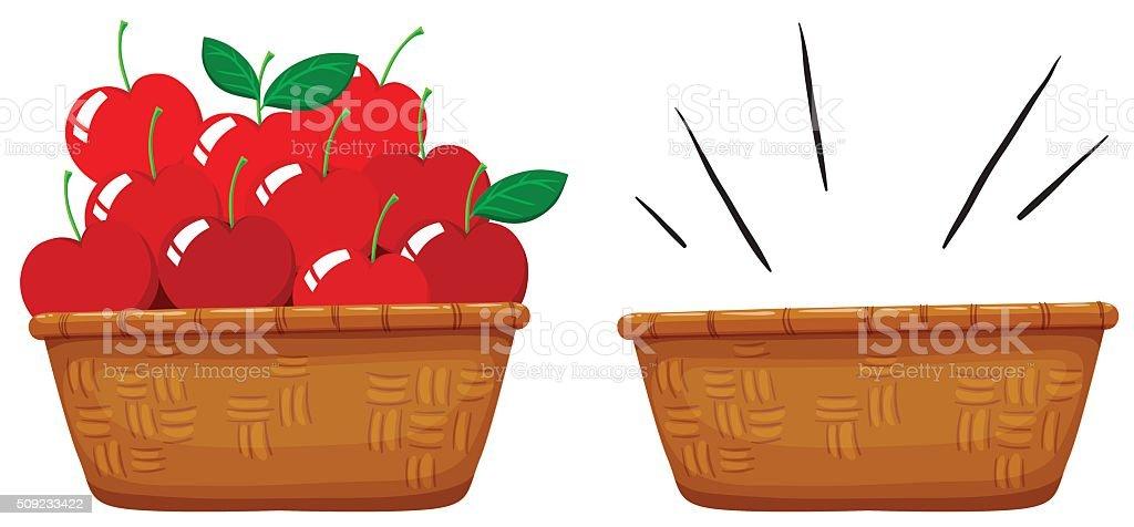 Empty basket and basket full of apples vector art illustration